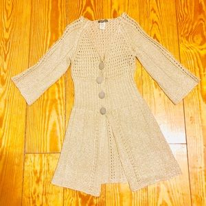 Sweaters - Golden cardigan with crochet fabric 🇪🇸